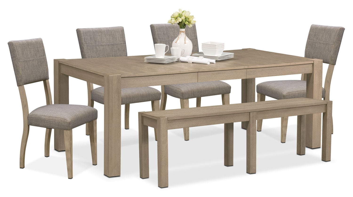 Tribeca table 4 upholstered side chairs and bench gray american signature furniture - Side table dining room ...