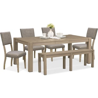 Tribeca Table, 4 Upholstered Side Chairs and Bench - Gray