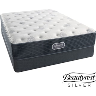 Urban Mist Plush Queen Mattress and Low-Profile Foundation Set