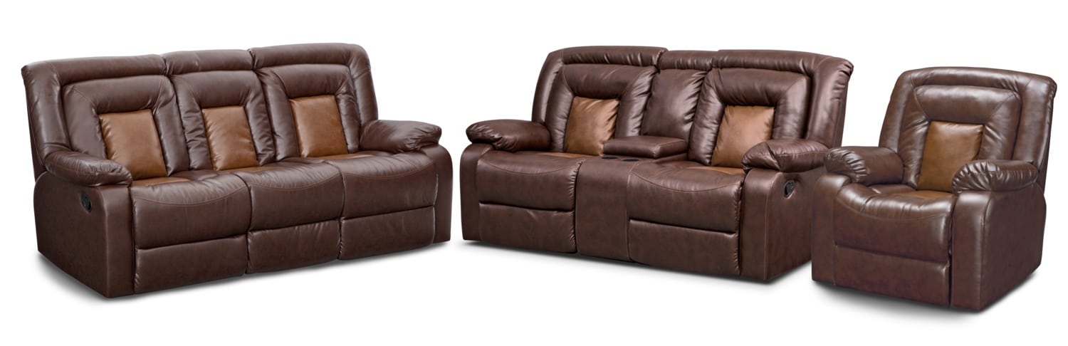 Mustang Dual Reclining Sofa, Dual Reclining Loveseat And Recliner Set    Brown