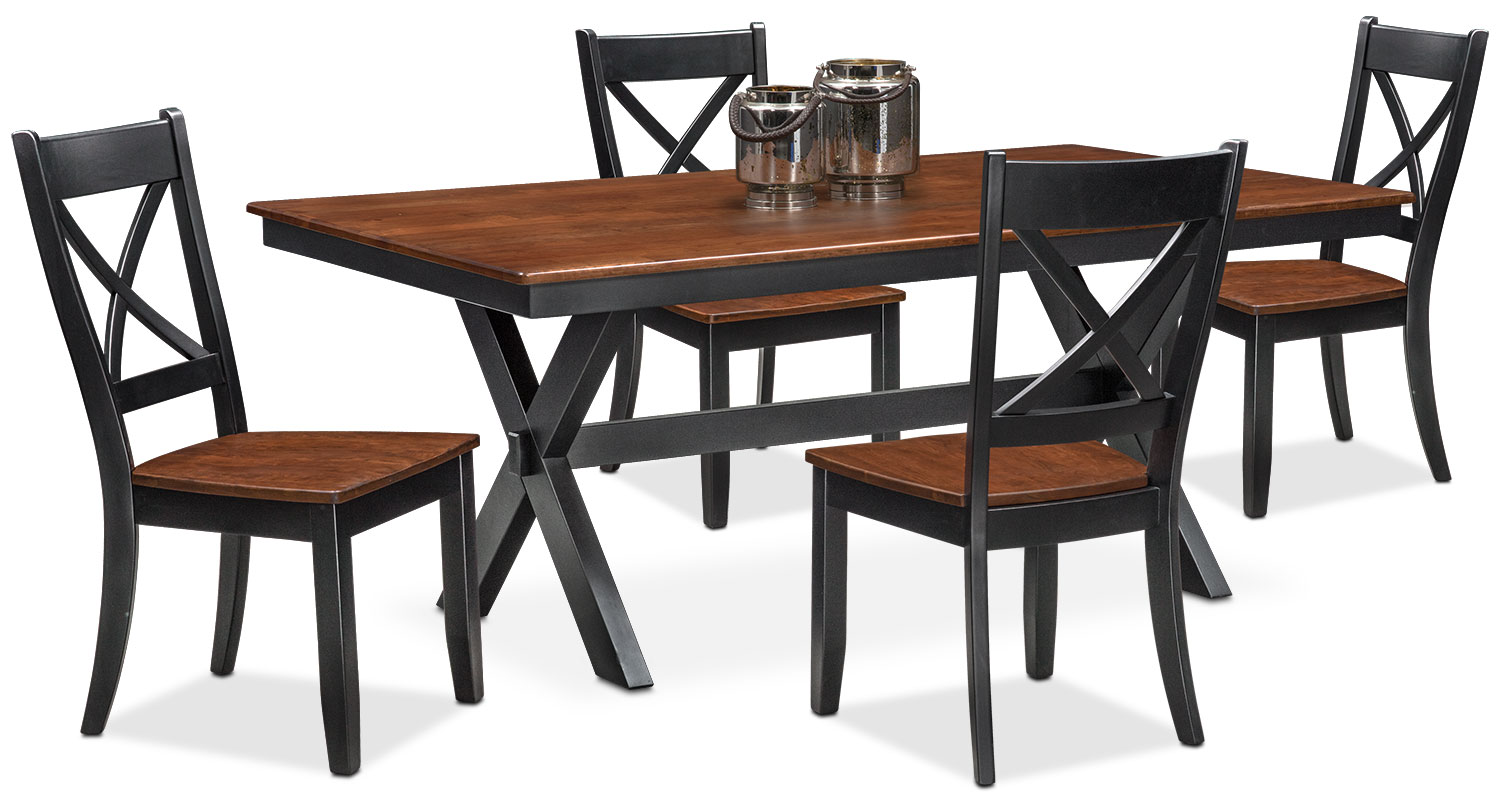 Nantucket Trestle Table And 4 Side Chairs   Black And Cherry Part 91