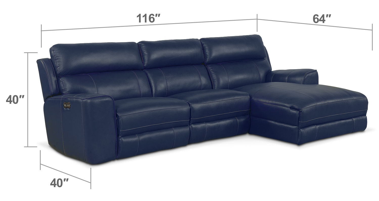 Newport 3 piece power reclining sectional with right for Blue sectional with chaise