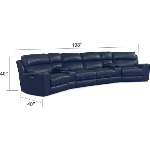 Living Room Furniture - Newport 6-Piece Power Reclining Sectional with Wedge Consoles - Blue