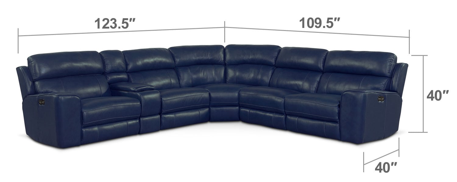 Living Room Furniture - Newport 6-Piece Power Reclining Sectional with 3 Reclining Seats - Blue