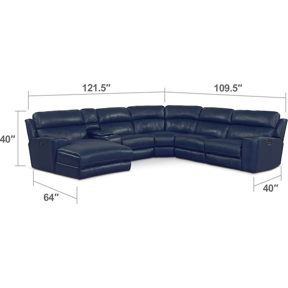 Living Room Furniture - Newport 6-Piece Power Reclining Sectional with Left-Facing Chaise and 2 Recliners - Blue