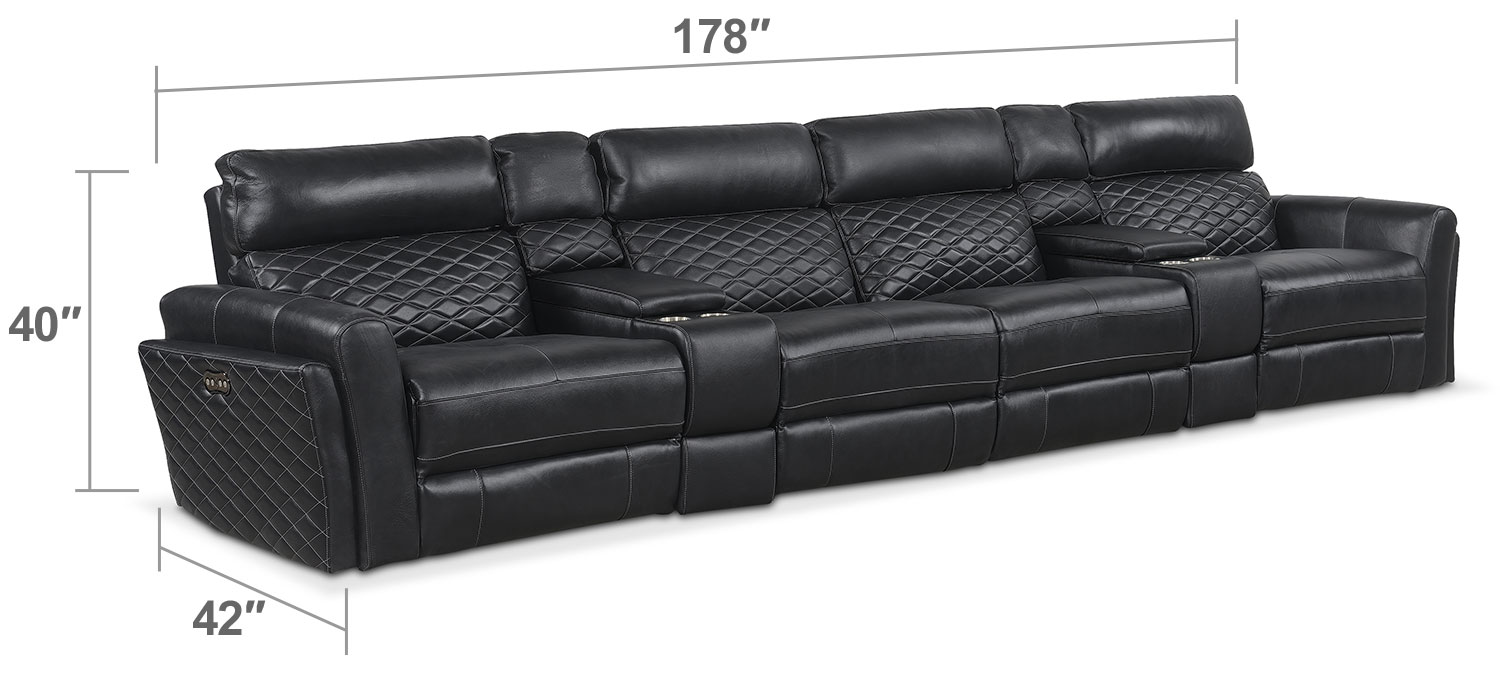 Living Room Furniture - Catalina 6-Piece Power Reclining Sectional with 4 Reclining Seats - Black