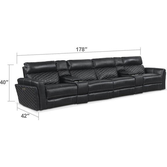 Living Room Furniture - Catalina 5-Piece Power Reclining Sectional with 4 Reclining Seats