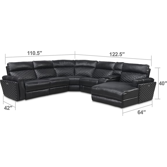 Living Room Furniture - Catalina 6-Piece Power Reclining Sectional with Right-Facing Chaise and 1 Recliner - Black
