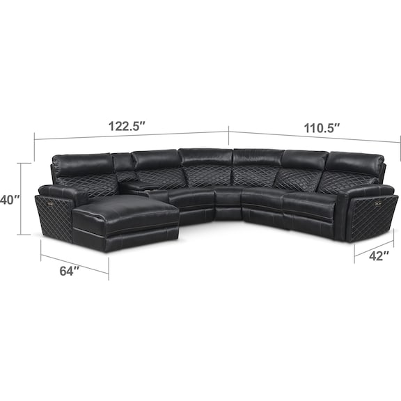 Living Room Furniture - Catalina 6-Piece Power Reclining Sectional with Left-Facing Chaise and 1 Recliner - Black