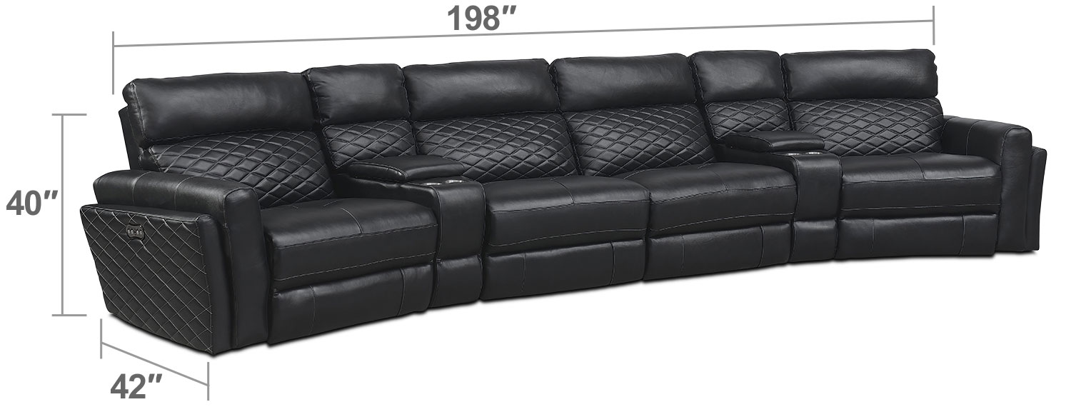 Living Room Furniture - Catalina 6-Piece Power Reclining Sectional with 2 Wedge Consoles - Black