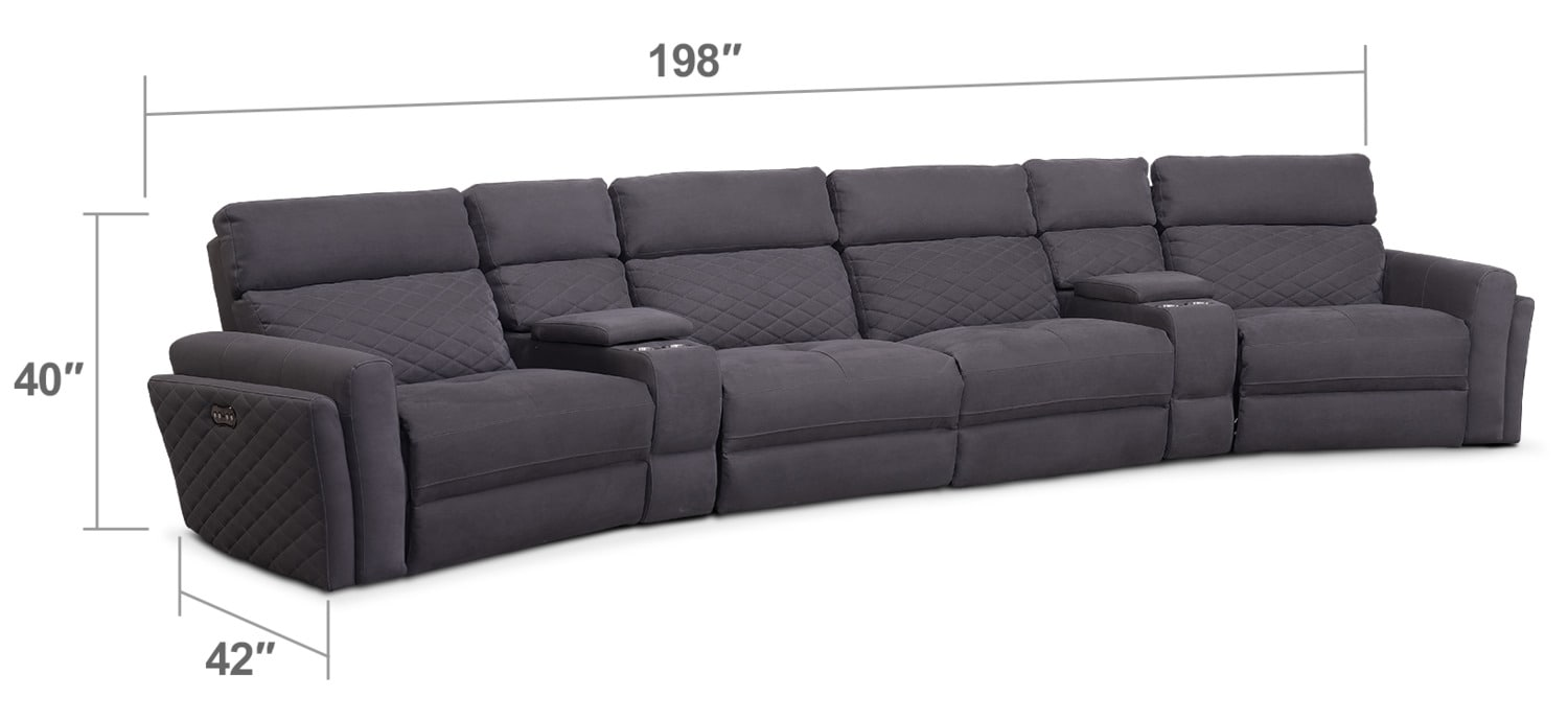 Living Room Furniture - Catalina 6-Piece Power Reclining Sectional with Wedge Consoles - Gray