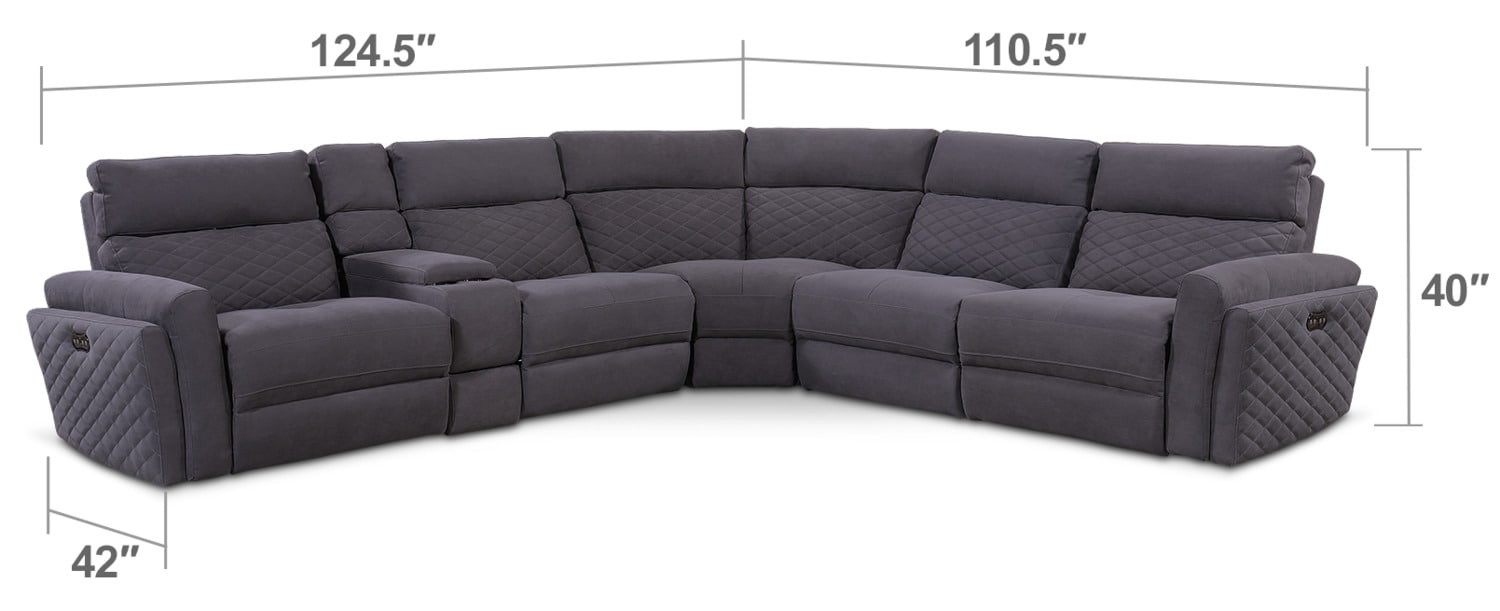 Living Room Furniture - Catalina 6-Piece Power Reclining Sectional with 2 Reclining Seats - Gray