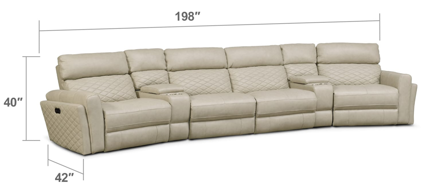 Living Room Furniture - Catalina 6-Piece Power Reclining Sectional with Wedge Consoles - Cream