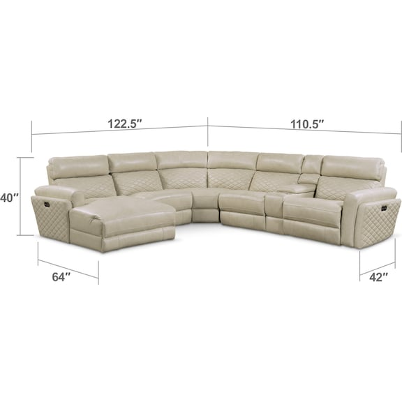Living Room Furniture - Catalina 6-Piece Power Reclining Sectional with Left-Facing Chaise and 1 Recliner - Cream