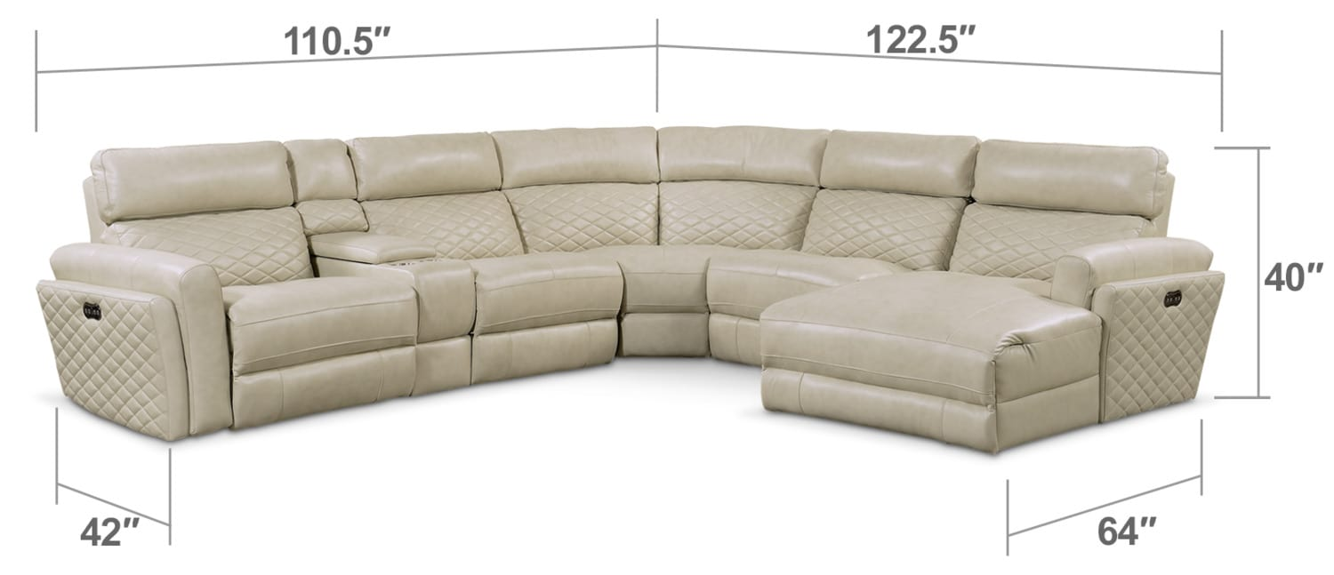 Living Room Furniture - Catalina 6-Piece Power Reclining Sectional with Right-Facing Chaise and 1 Recliner - Cream
