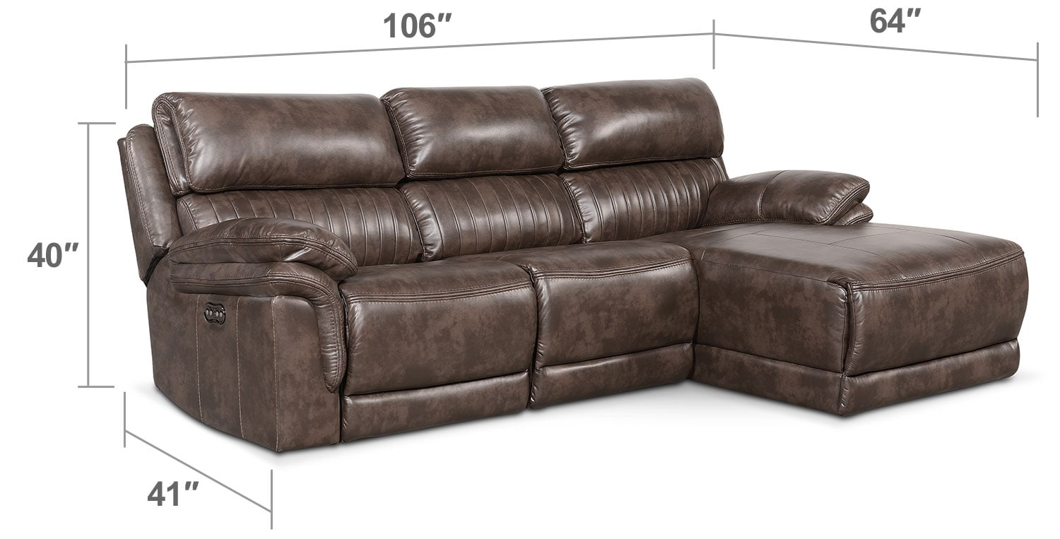 Monterey 3 piece power reclining sectional with right for 3 piece sectional with chaise