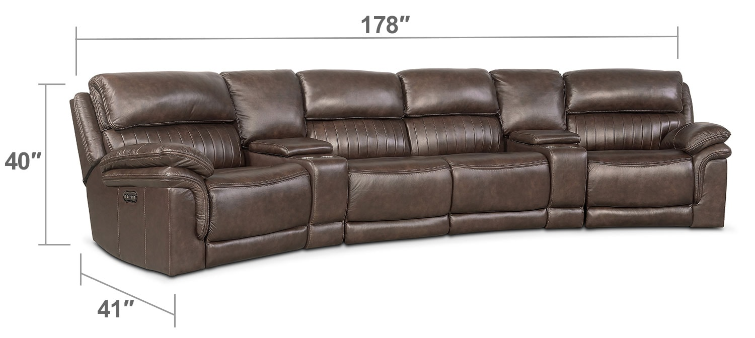 Living Room Furniture - Monterery 6-Piece Power Reclining Sectional with Wedge Consoles - Brown