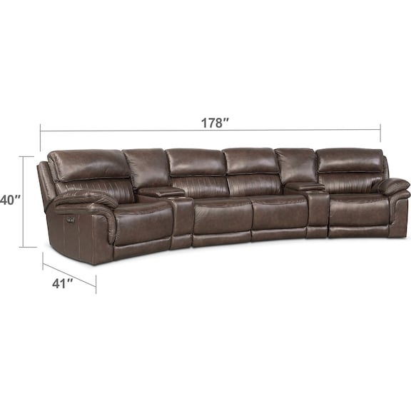 Living Room Furniture - Monterey 6-Piece Power Reclining Sectional with Wedge Consoles - Brown