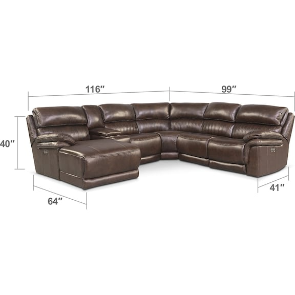 Monterey 6 piece power reclining sectional with left for Cody fabric 6 piece chaise sectional sofa with 1 power recliner
