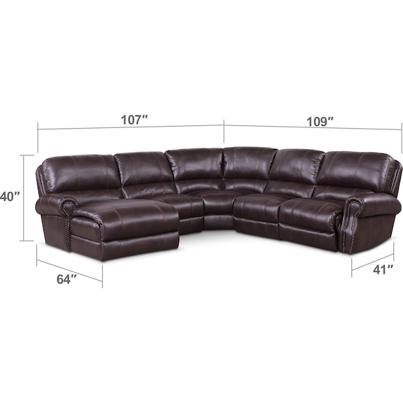 Living Room Furniture - Dartmouth 5-Piece Dual-Power Reclining Sectional with Chaise and 1 Reclining Seat