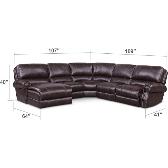 Living Room Furniture - Dartmouth 5-Piece Dual-Power Reclining Sectional with Chaise and 2 Reclining Seats
