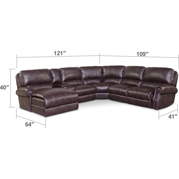 Living Room Furniture - Dartmouth 6-Piece Power Reclining Sectional w/ Left-Facing Chaise and 2 Reclining Seats - Burgundy