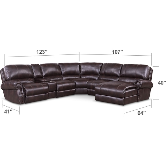 Living Room Furniture - Dartmouth 6-Piece Power Reclining Sectional w/ Right-Facing Chaise and 2 Reclining Seats - Burgundy