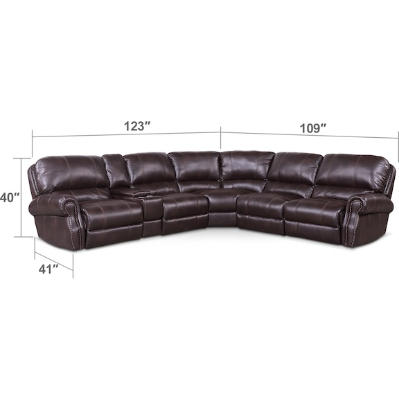 Living Room Furniture - Dartmouth 6-Piece Power Reclining Sectional with 2 Reclining Seats - Burgundy