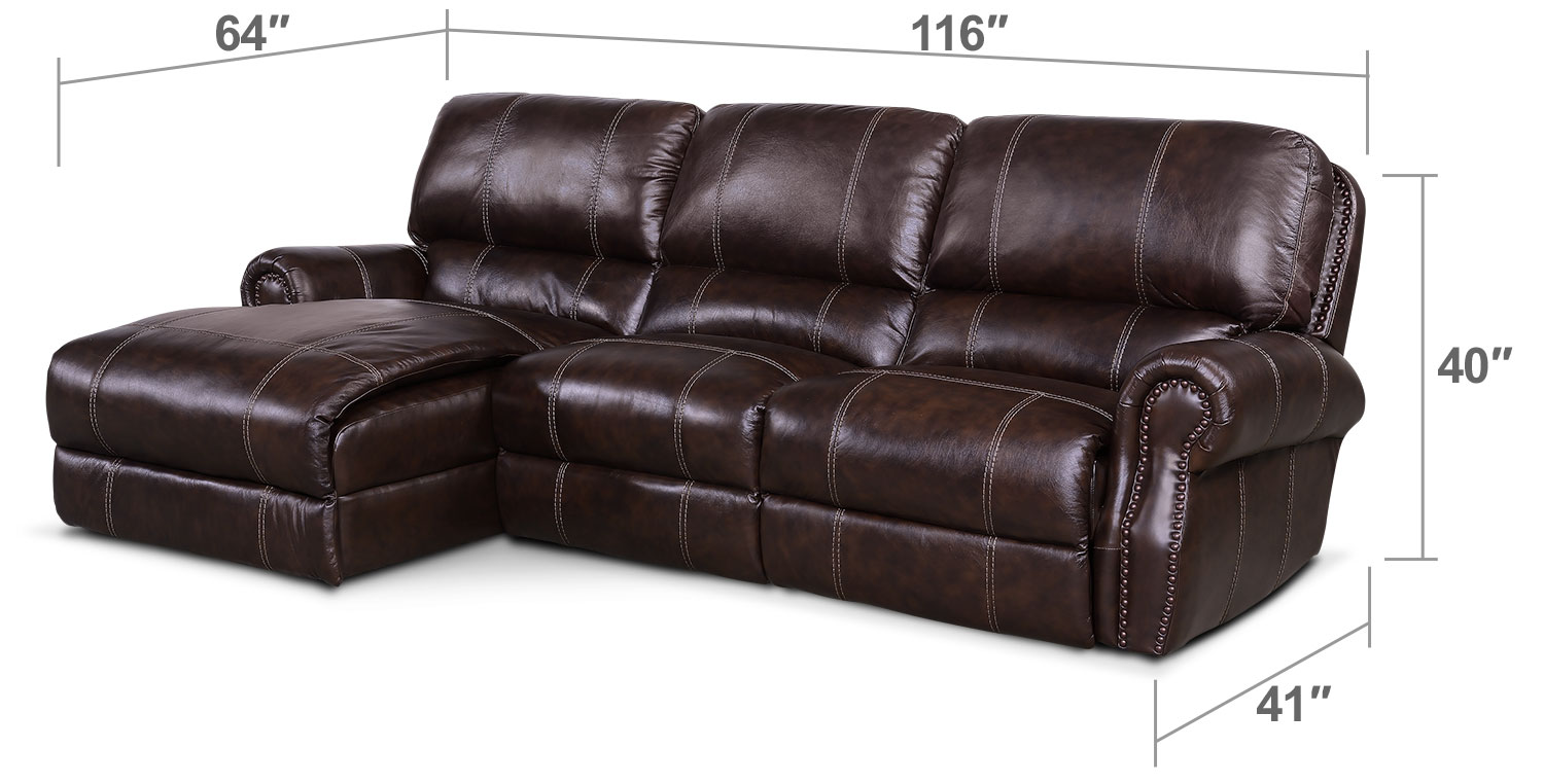 dartmouth 3 piece power reclining sectional with left. Black Bedroom Furniture Sets. Home Design Ideas