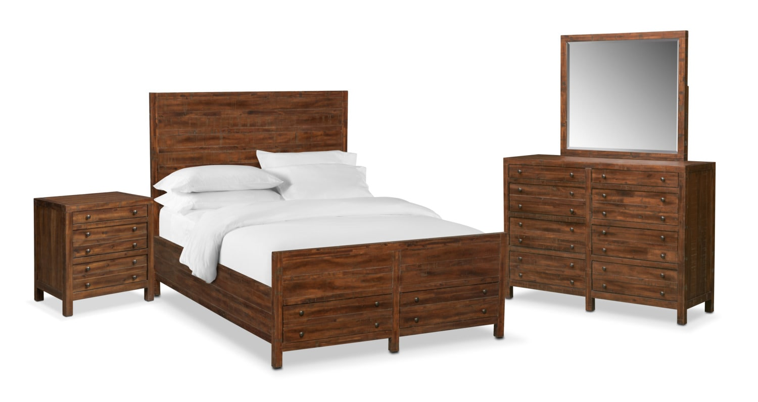 Ryder 6 piece king storage bedroom set mahogany for Bedroom 6 piece set
