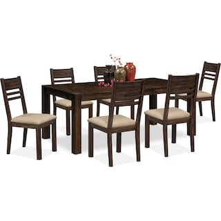 Tribeca Table and 6 Side Chairs - Tobacco