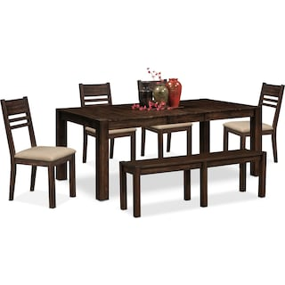 Tribeca Table, 4 Side Chairs and Bench - Tobacco