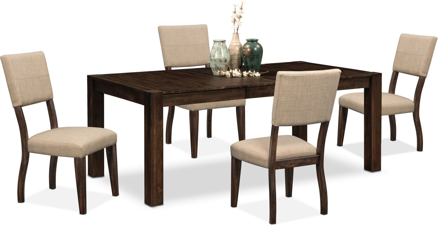 Tribeca Table and 4 Upholstered Side Chairs - Tobacco