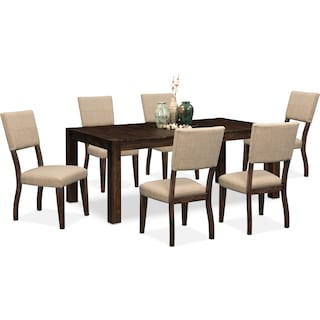 Tribeca Table and 6 Upholstered Side Chairs - Tobacco