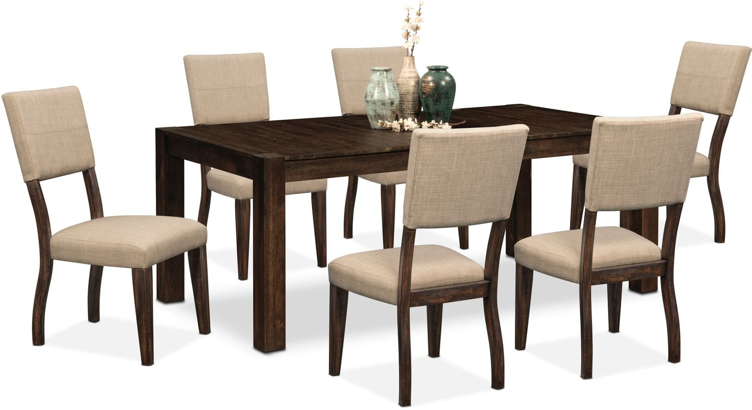 Dining Room Furniture   Tribeca Table And 6 Upholstered Side Chairs    Tobacco