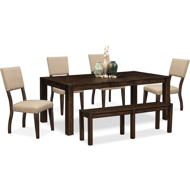 Dining Room Furniture - Tribeca Table, 4 Upholstered Side Chairs and Bench - Tobacco