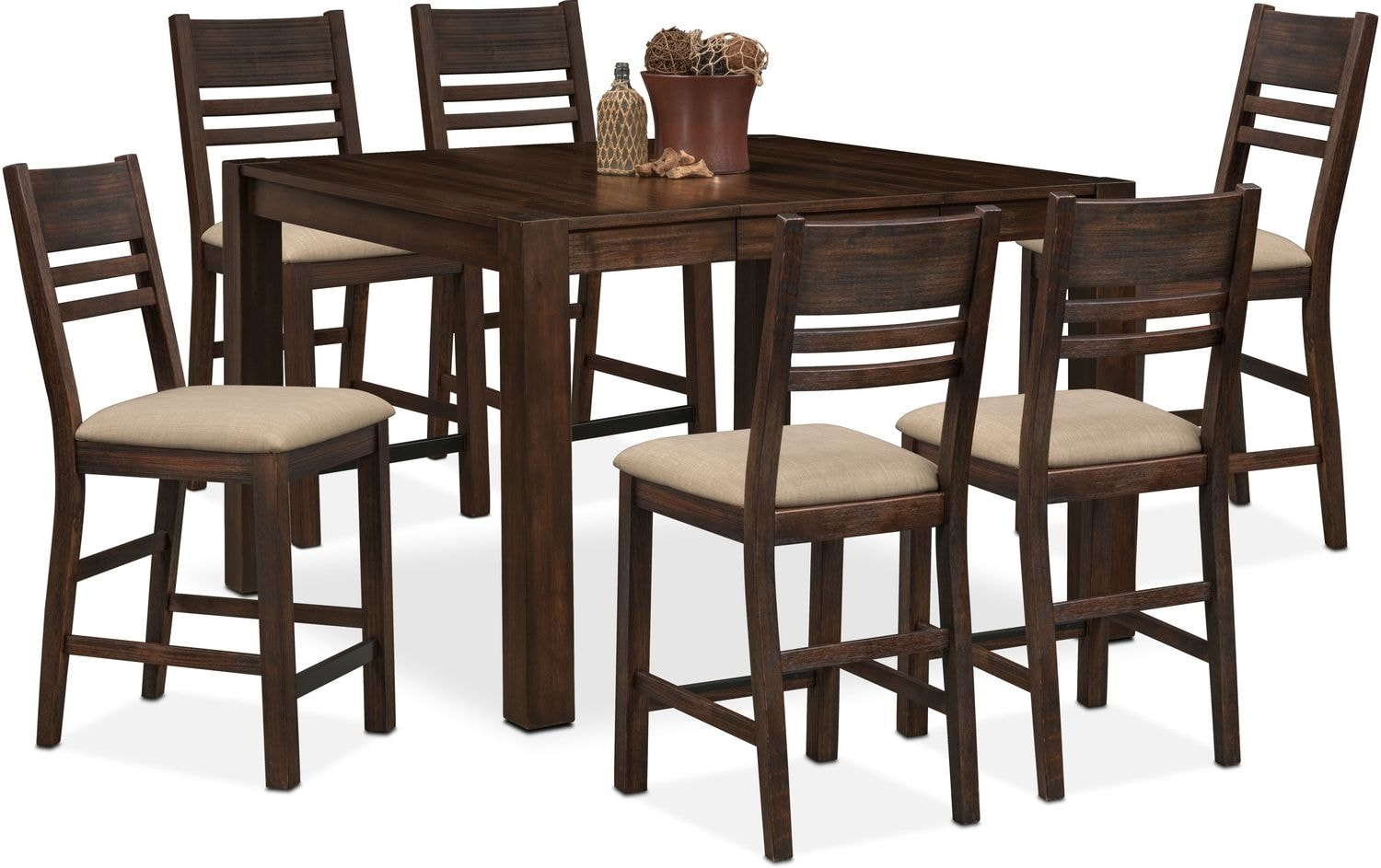 Tribeca counter height table and 6 side chairs tobacco for Dining room table height