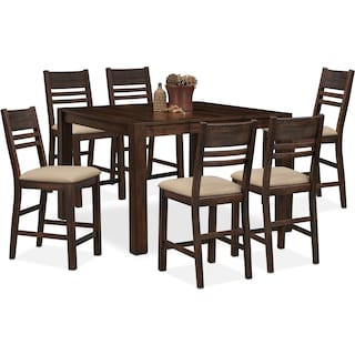 Tribeca Counter-Height Table and 6 Side Chairs - Tobacco