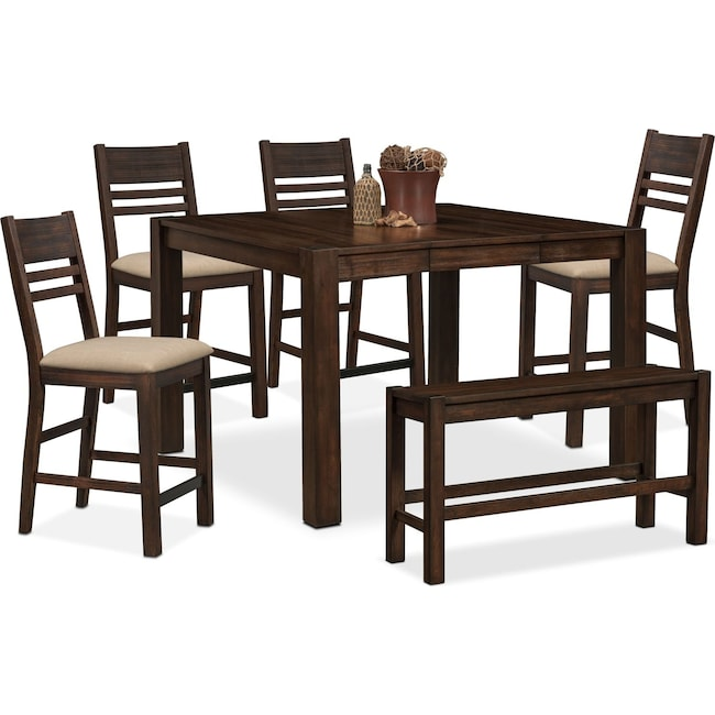 Dining Room Furniture - Tribeca Counter-Height Table, 4 Side Chairs and Bench - Tobacco