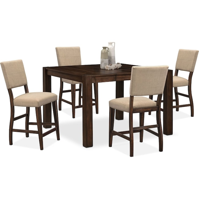 Dining Room Furniture - Tribeca Counter-Height Table and 4 Upholstered Side Chairs