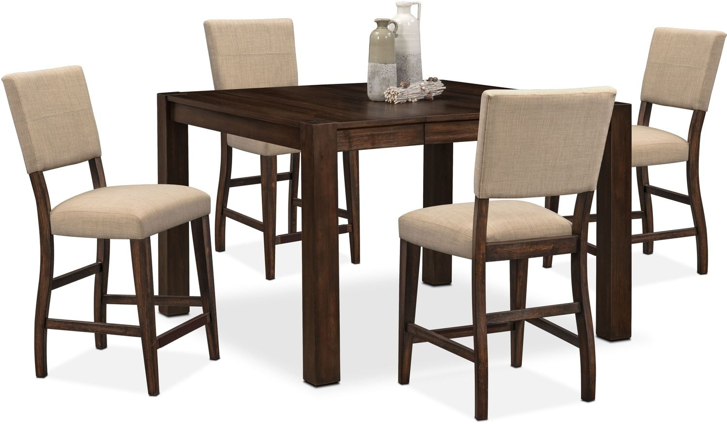 Dining Room Furniture   Tribeca Counter Height Table And 4 Upholstered Side  Chairs   Tobacco