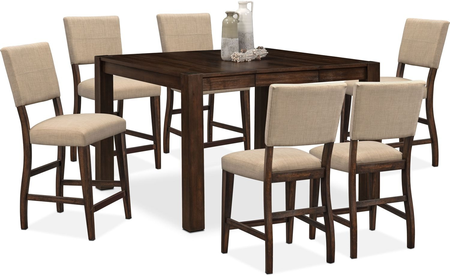 Tribeca Counter-Height Table and 6 Upholstered Side Chairs - Tobacco