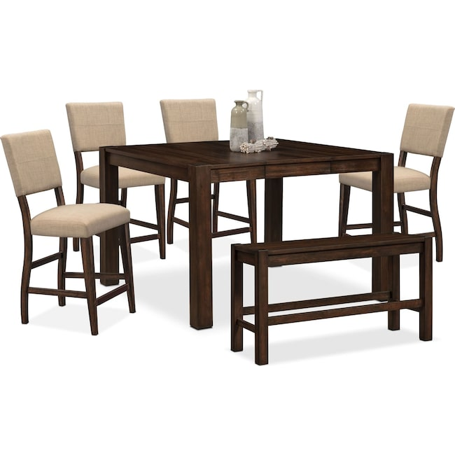 Dining Room Furniture - Tribeca Counter-Height Table, 4 Upholstered Side Chairs and Bench - Tobacco
