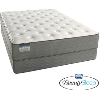 French Grey Plush Queen Mattress and Foundation Set