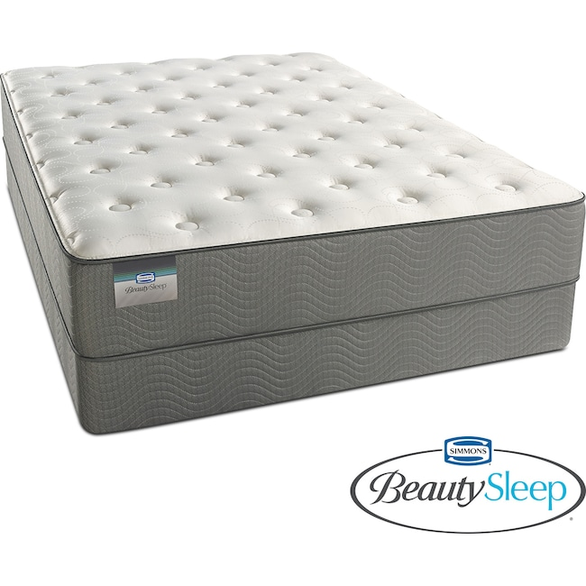 Mattresses and Bedding - French Grey Plush Twin Mattress and Foundation Set