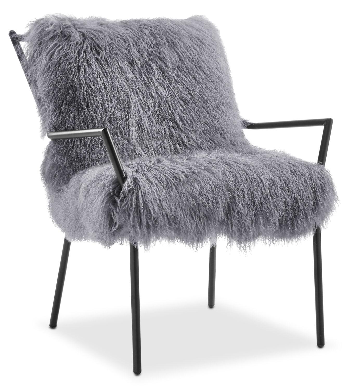 lara sheepskin accent chair black and gray