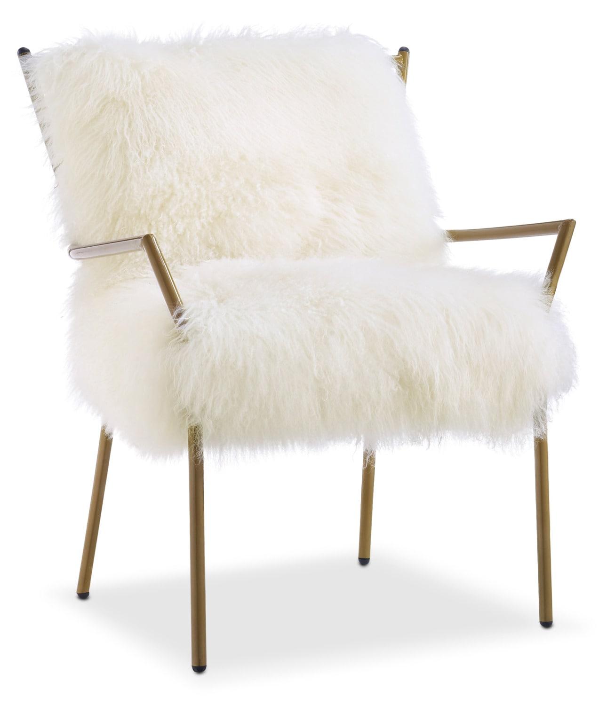 Lara Sheepskin Accent Chair Gold and White