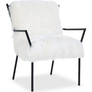 Lara Sheepskin Accent Chair - Black and White