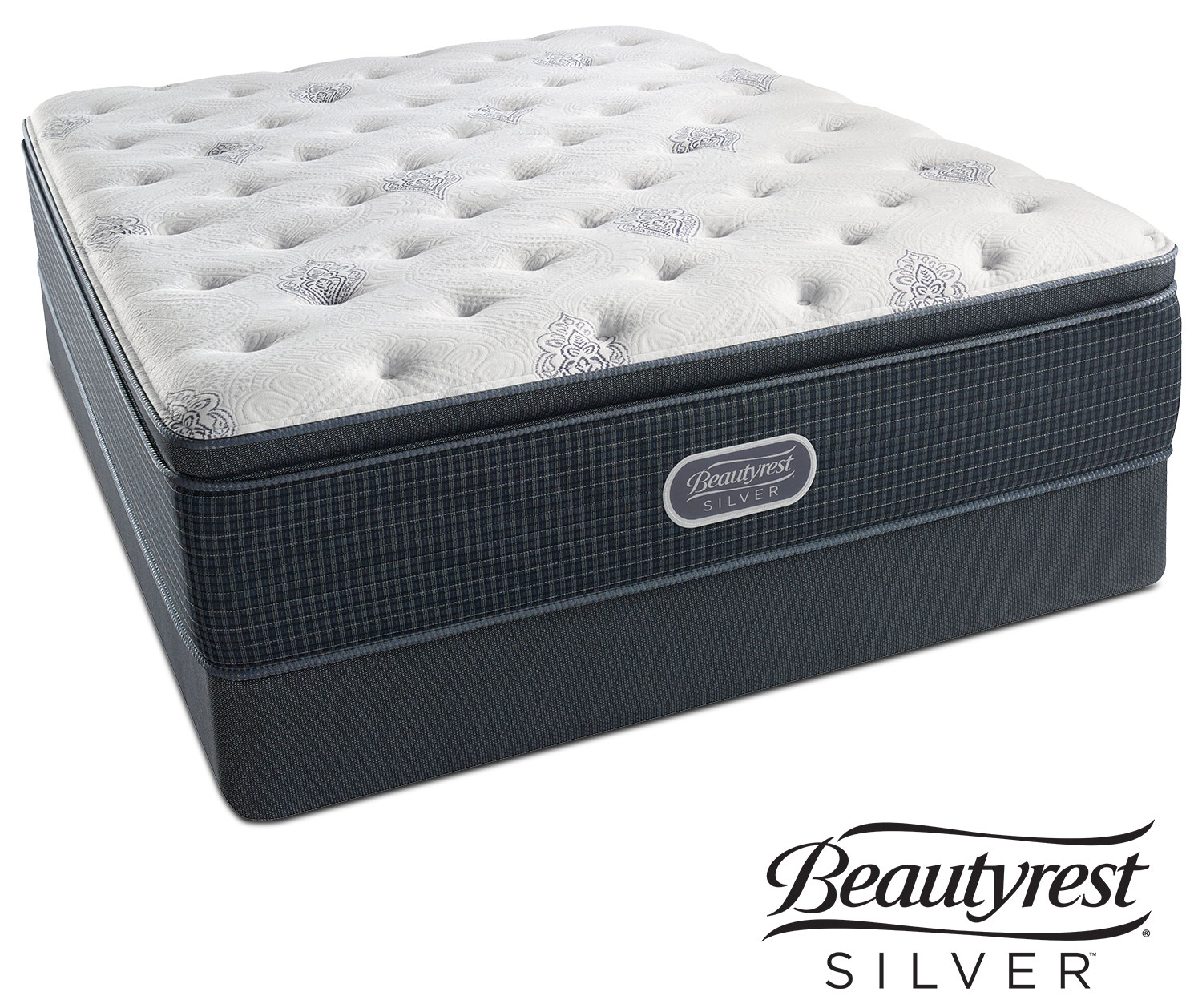 White river plush pillowtop king mattress and split low profile foundation set american - Matelas simmons back touch ...