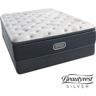 White River Plush Pillowtop King Mattress and Split Low-Profile Foundation Set